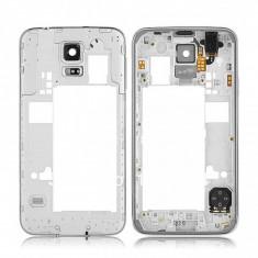 Carcasa mijloc Samsung Galaxy S5 G900 argintie SH Originala