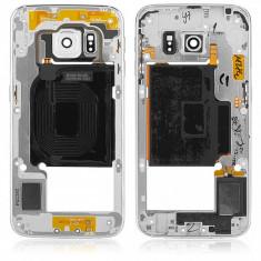 Carcasa mijloc Samsung Galaxy S6 edge G925 argintie alba Originala