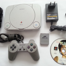 PlayStation 1 Sony slim + joc maneta card alimentator cablu tv consola PS1 ps one psx