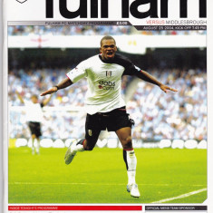 Program meci fotbal FC FULHAM - MIDDLESBROUGH 25.08.2004