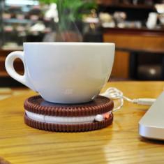 Incalzitor cana, conexiune USB, aspect biscuite, diametru 10.5 cm