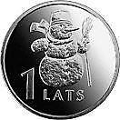 SV * Letonia  ( Rep. Latvijas )  1  LATS  2007   < OM DE ZAPADA >     AUNC+, Europa, Nichel