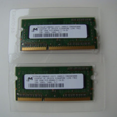 Memorii SO-DIMM 2 x 1GB, DDR3, 1066, Micron made in Singapore - Memorie RAM laptop