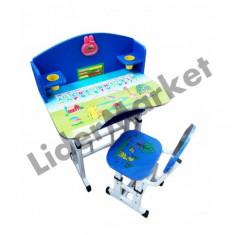 Birou pentru copii reglabil pe inaltime cu scaunel albastru 71 x 49 x 95 cm - Masuta/scaun copii