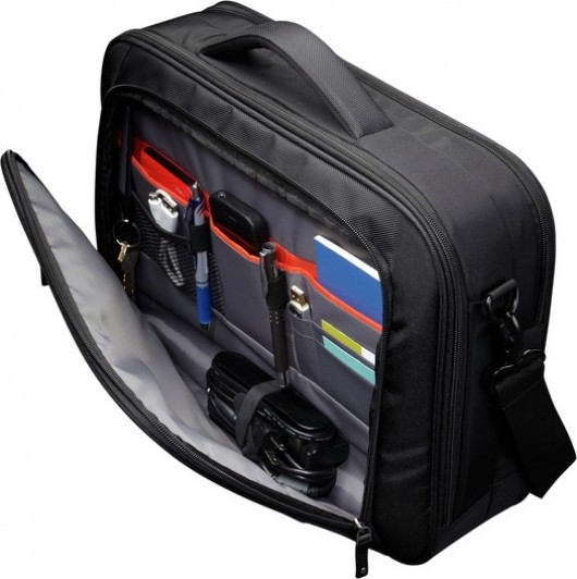 "Geanta corporate nylon 16"" cu buzunar pentru ipad ,black/red, ZLC216 foto mare"