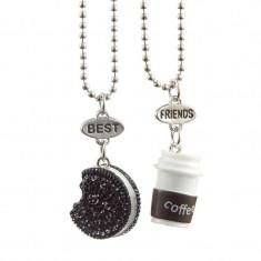 Pandantiv / Colier / Lantisor - BFF / BEST FRIENDS - OREO and COFFEE - 2Buc/set - Pandantiv fashion