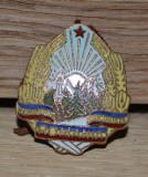 Insigna Militara Boneta perioada comunista - Stema RSR,  insigna cuc #514
