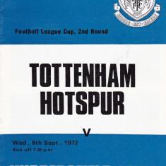 Program meci fotbal TOTTENHAM HOTSPUR - HUDDERSFIELD TOWN 06.09.1972