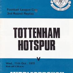 Program meci fotbal TOTTENHAM HOTSPUR - MIDDLESBROUGH 11.10.1972