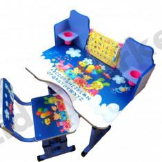Birou pentru copii reglabil pe inaltime cu scaunel 71x 49 x 95 cm albastru - Masuta/scaun copii