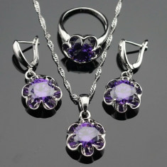 Set argint 925 Marcat - Diamante/ Flori/ Flower- 925/Mov/Ametist/Cutie cadou - Set bijuterii argint