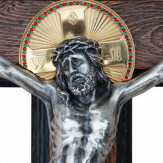 Crucifix Mântuitorul Iisus Hristos aurita - Icoana din metal