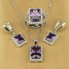 Set argint 925 Marcat - Diamante - 925/Mov/Ametist/Cutie cadou - Set bijuterii argint