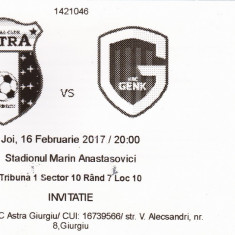 Bilet meci fotbal ASTRA GIURGIU - KRC GENK 16.02.2017