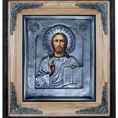 Icoana Mantuitorul Iisus Hristos argintata - Icoana din metal