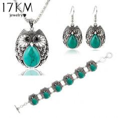 Set Bijuterii - Bufnita/Owl - Albastru/Blue/Cutie Cadou - Set bijuterii handmade si fashion