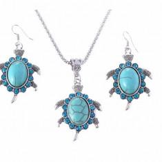 Set Bijuterii - Tibet/Tibetane/Broasca testoasa/Turtle/Frog - Albastru/Totem/ - Set bijuterii handmade si fashion