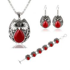 Set Bijuterii - Bufnita/Owl - Red/Rosu/Cutie Cadou - Set bijuterii handmade si fashion