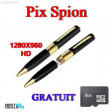 Pix Spion cu Camera Ascunsa, Video HD1280, Lentila KONICA MINOLTA + Card 8GB