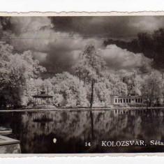 CLUJ NAPOCA LACUL PROMENADA PAVILION MUZICAL 1942-NR14 KOLOZSVAR - Carte Postala Transilvania dupa 1918, Necirculata, Fotografie