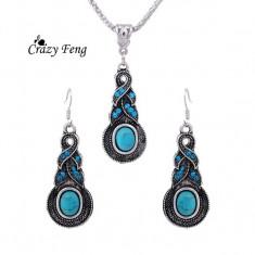 Set Bijuterii - Tibet/Tibetane - Albastru/Blue/Totem/Cutie cadou - Set bijuterii handmade si fashion