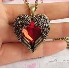 Set Bijuterii - Inima/Heart/Titanic- Red/Rosu/Cutie Cadou - Set bijuterii handmade si fashion