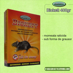 Biokett grau raticid pentru anti rozatoare, soareci, sobolani 400gr.