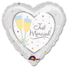 Balon folie inima Just Married - 81cm, Amscan 11383