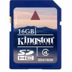 SD CARD KINGSTON; model: SD4/16GB; capacitate: 16 GB; clasa: 4; culoare: NEGRU - Secure digital (SD) card