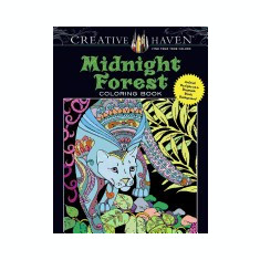 Creative Haven Midnight Forest Coloring Book: Animal Designs on a Dramatic Black Background - Carte de colorat