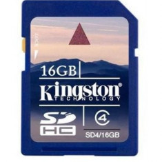SD-HC CARD KINGSTON; model: SD4/16GB; capacitate:16 GB; clasa: 4; culoare: NEGRU - Secure digital (SD) card