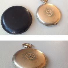 Ceas de buzunar Drusus Savonette placat cu aur, cu husă din piele - Ceas de buzunar vechi