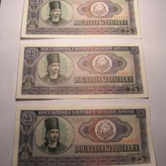 Lot 3 bancnote 25 lei 1966 XF Serii COnsecutive - Bancnota romaneasca