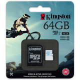 Card memorie Kingston Micro SDHC Action Camera 64GB Clasa 10, UHS-I U3 si Adaptor SD