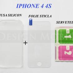 HUSA IPHONE 4 4S SILICON SLIM TRANSPARENTA + FOLIE STICLA ECRAN - Husa Telefon Samsung