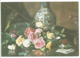 @carte postala(ilustrata)-THEODOR AMAN-Trandafiri pe masa, Necirculata, Printata