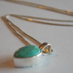 Lantisor argint cu pandant turcoaz -1006