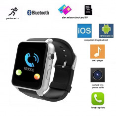 Ceas smart bluetooth 4.0, slot SIM, camera 3 MP, 17 functii, touchscreen, negru - Smartwatch
