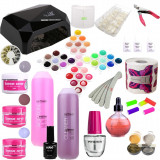 Set kit unghii false gel  AVANSAT cu lampa CCFL / LED 36 w geluri color base one