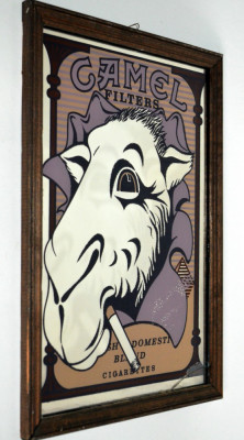Reclama CAMEL CIGARETTES - Serigrafie pe oglinda , anii '80 - '90 foto