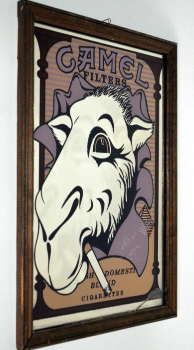 Reclama CAMEL CIGARETTES - Serigrafie pe oglinda , anii '80 - '90