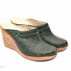 Saboti dama verzi din piele naturala cu perforatii cod SB16 - Made in Romania