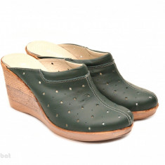 Saboti dama verzi din piele naturala cu perforatii cod SB16 - Made in Romania - Sabot dama, Culoare: Verde, Marime: 35, 36, 37, 38, 39, 40, 41