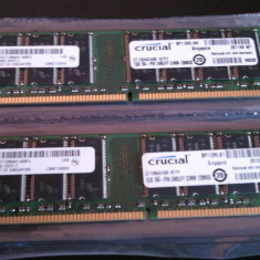 Kit 2 x 1 Gb Ram DDR1 / 400 Mhz PC-3200U / Dual chanell / Crucial, DDR, 2 GB, Dual channel