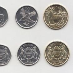 SV * Botswana 5-10-25-50 THEBE si 1-2-5 PULA 2013 UNC 2 monede bimetal, Africa