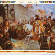 Romania - CP necirc - Pictura de D.Stoica - Intrarea lui Mihai V. in Alba Iulia, Necirculata, Fotografie