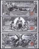 Bancnota Statele Unite ale Americii 1, 2 si 5 Dolari 1896 - P335-337 (3 replici)