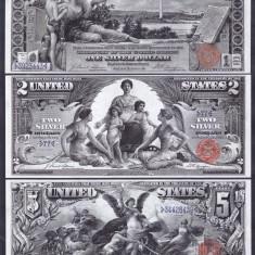 Bancnota Statele Unite ale Americii 1, 2 si 5 Dolari 1896 - P335-337 (3 replici) - bancnota america