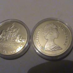 1 dollar Canada UNC 1987 argint, America de Nord