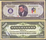 !!! SUA = FANTASY NOTE = JOHN F. KENNEDY SI VOLUNTARII  -  2011 - UNC